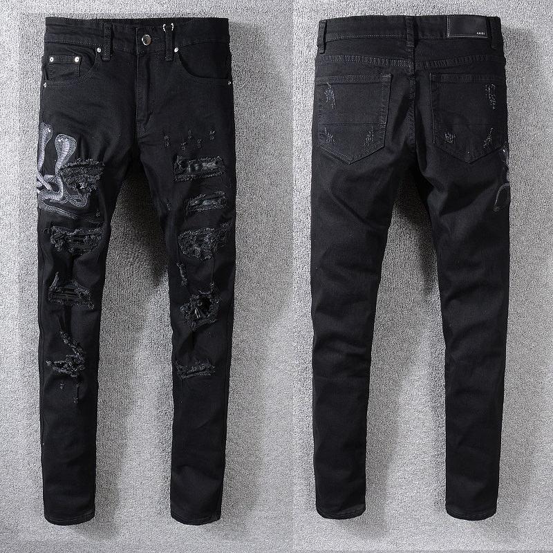 HOT Moda Classic Mens Distressed rasgado Biker Jeans Slim Fit Motociclista Denim For Men Fashion Designer Hip Hop Jeans Mens 205