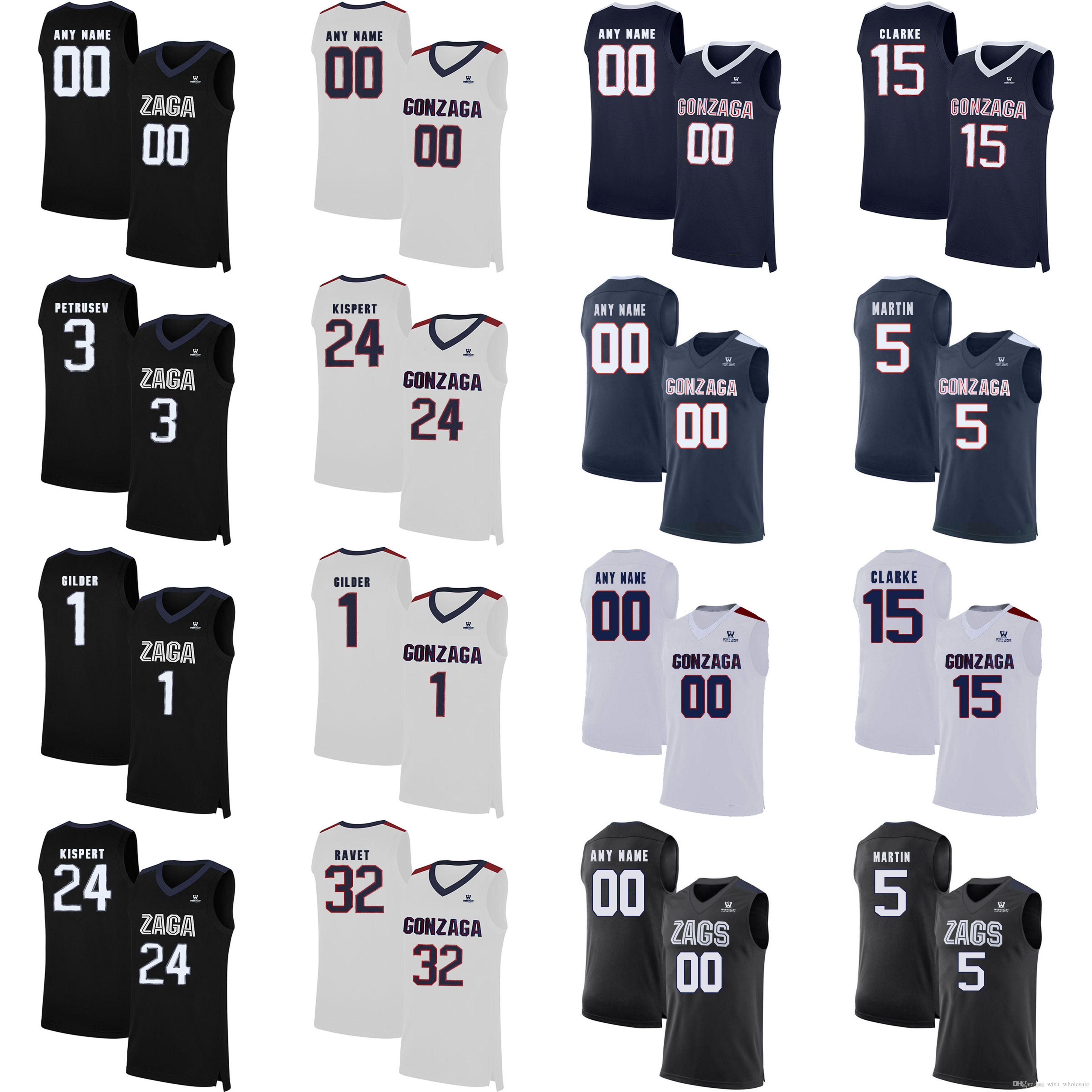 Gonzague Bulldogs College Basketball Maillots Hommes Brandon 15 Clarke Nigel Williams 5-Goss Filip Petrusev Corey Kispert Killian Tillie sur mesure