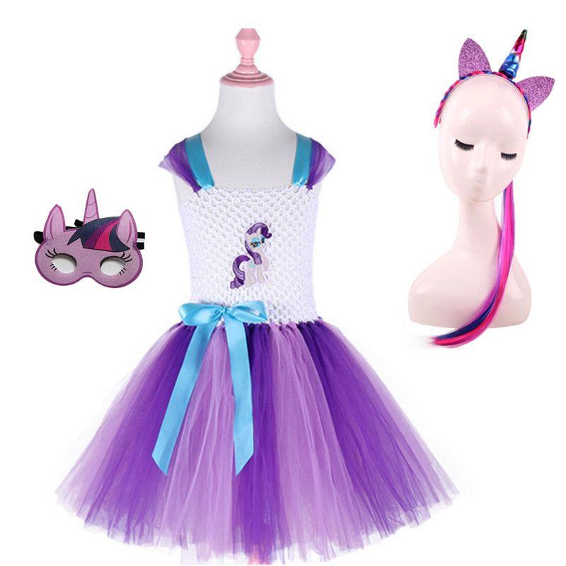 Vestido de tutú para niñas de 3 piezas para mi niña Disfraz de pony para niñas pequeñas para la fiesta de cumpleaños Disfraz de Halloween para niñas Disfraz clásico para niñas MX190822