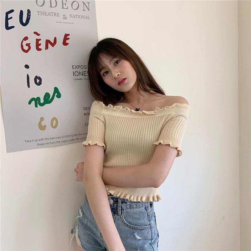 Été coréenne Pull courte section Section mince mot à manches courtes Col chandail Solide Couleur Sexy Casual Top