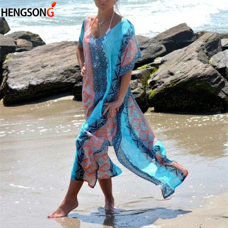 Frauen-Strand-Kleid Kaftan Strand Sarongs Sexy Vertuschung Chiffon Bikini-Bade Tunika Badeanzug weiblich Vertuschungen Bikini-Badeanzug