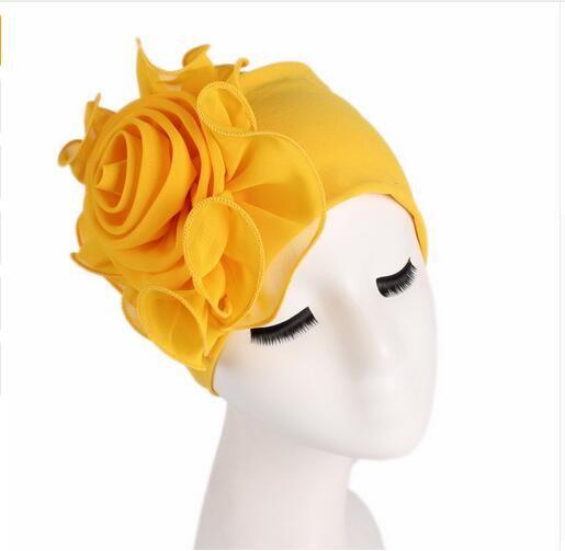 Las mujeres gorros elásticos con gran flor pérdida de pelo gorra turbante africano Boho Head Wrap Hijab boda fiesta Cap Turbantes mujer GB589