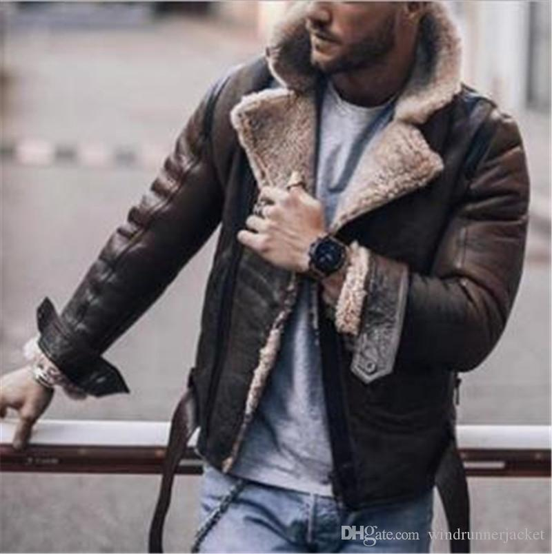 Erkek Kış Faux Deri Ceketler Moda Yaka Boyun Polar Mont Erkek Sokak Stili Uzun Kollu Kalın Ceket