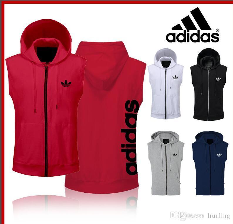 2019&#65didas Men's sleeveless T-shirt Summer new shoulder-mounted cap jacket Korean version of pure cotton ins Port Trendy vest for men