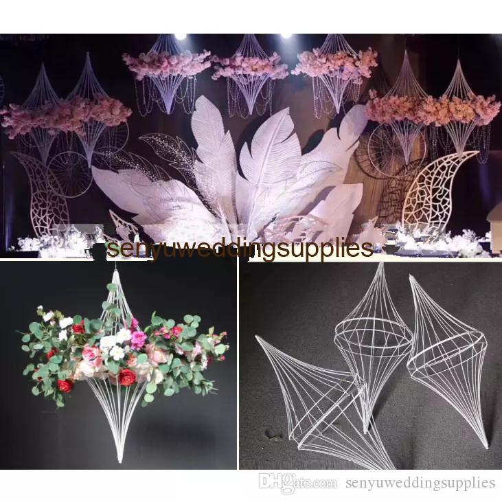 decorative hanging wedding spinning top for flower arrangement flower frame backdrop floral stand senyu0496
