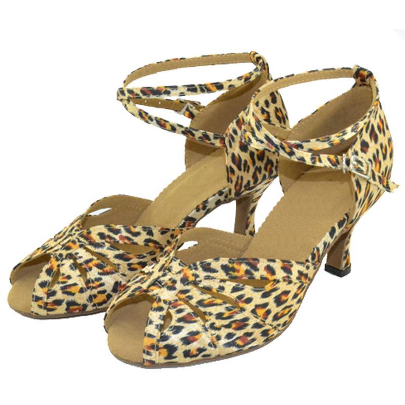 XSG Латинской обувь леопарда девушки лето для взрослых латинский танец обувь дамы квадратный танец дружбы женщин носить бальные туфли на высоком каблуке мягкий