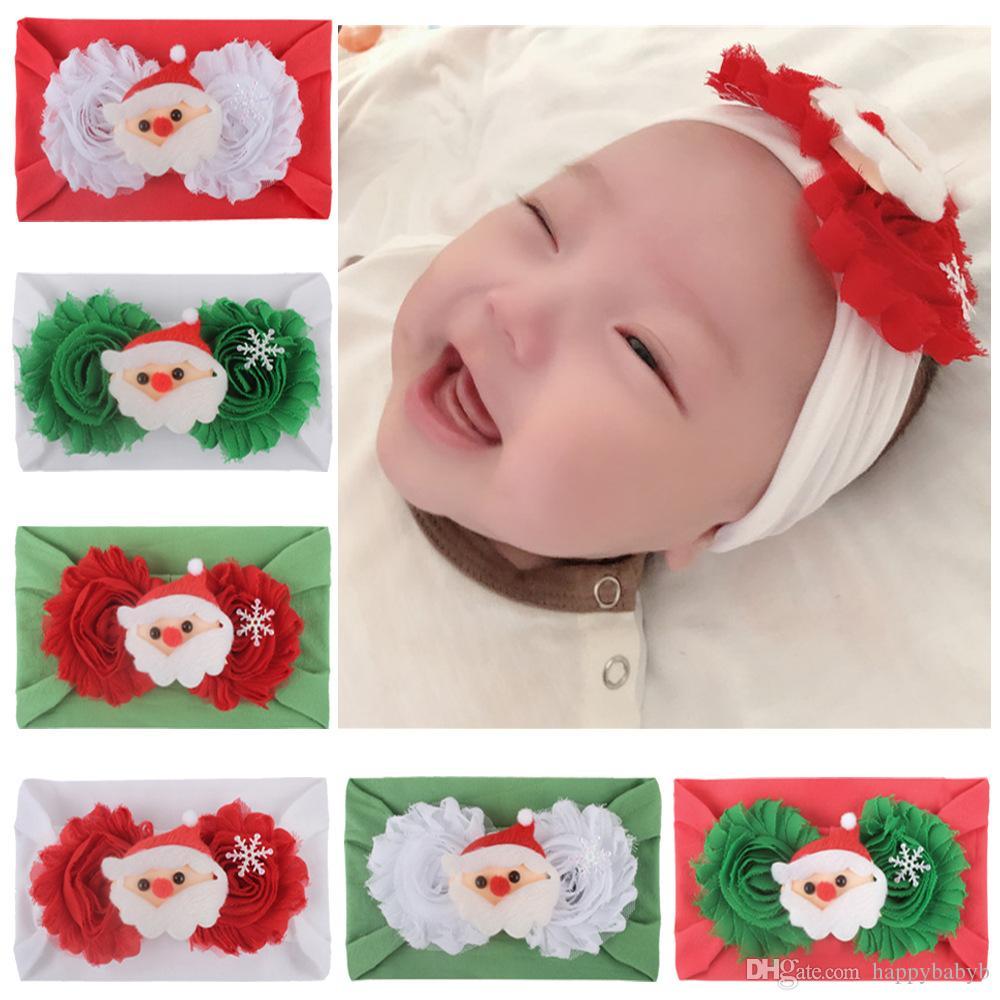 Natale Moda bambino della fascia del fiore delle ragazze di santa nylon Headwear Hairband Turbante Newborn dell'involucro della testa del neonato elastica del legame dei capelli dei capelli accessoriy