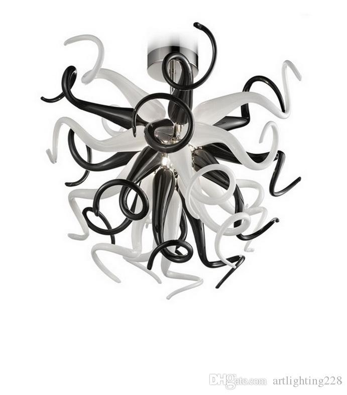 Negro y blanco de Murano lámpara de cristal de estilo francés por encargo de la decoración del arte del 100% de la mano de vidrio soplado lámparas pendientes