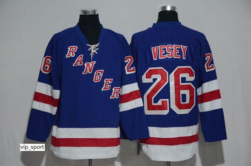 NWT 26 Jimmy Vesey Jersey Hombres New York Rangers Jimmy Vesey Jerseys de hockey sobre hielo Equipo barato Inicio Azul Todo cosido Mejor calidad En oferta