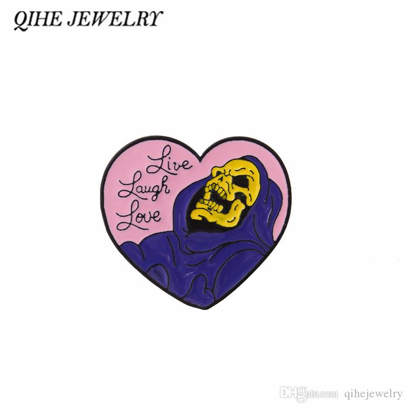 QIHE JEWELRY Pink Heart Skull Pins Skeleton Brooches Enamel pins Badges Lapel pins Skeleton jewelry Punk jewelry