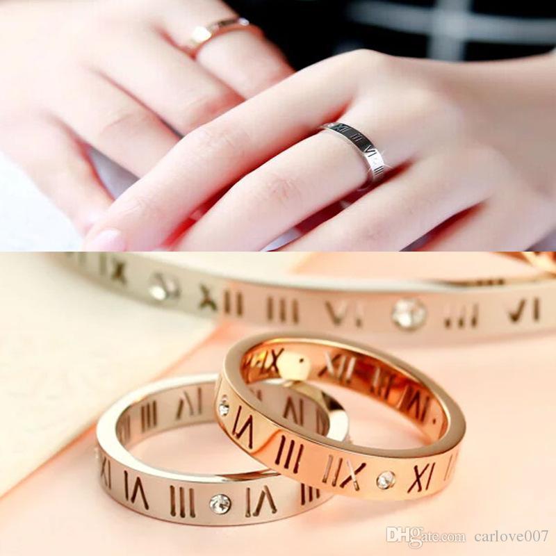 2019 new sell Hollow titanium plated 18k rose gold ring digital whit stone lovers ring finger ring as gift brithday gold rings women /men