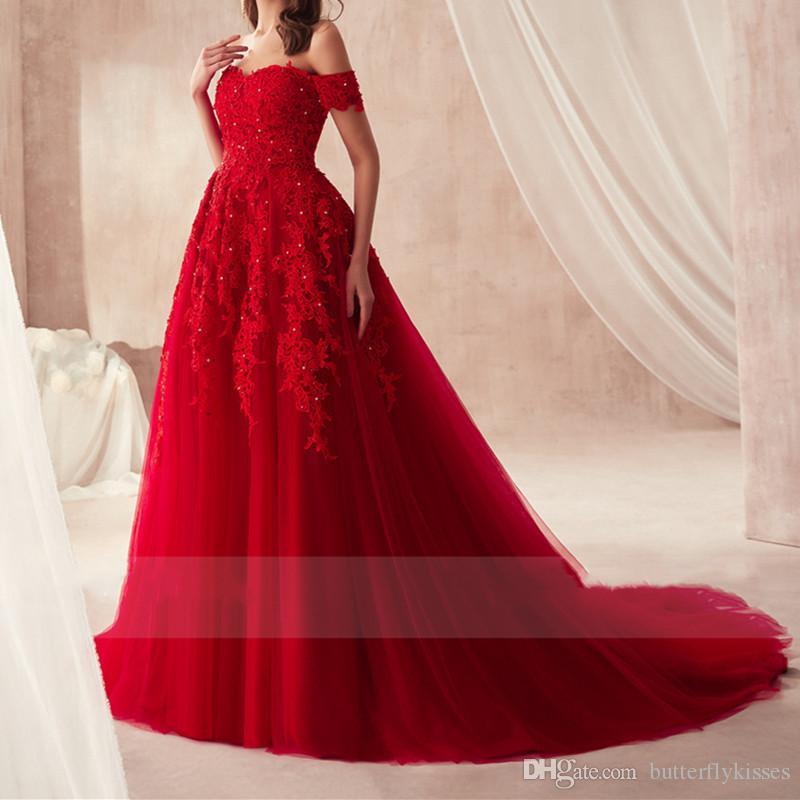 2019 Moda Organza Vermelho A Linha Vestidos de Baile Beads Fora Do Ombro Vestidos de Festa Sweep Trem Vestidos de Noite Custom Backless Beads Lace Prom Dress