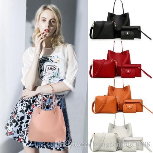 4 шт. / Компл. Женская сумка через плечо сумка для переноски сумка комплект благородных сумок сумки кожаный кошелек организатор путешествия