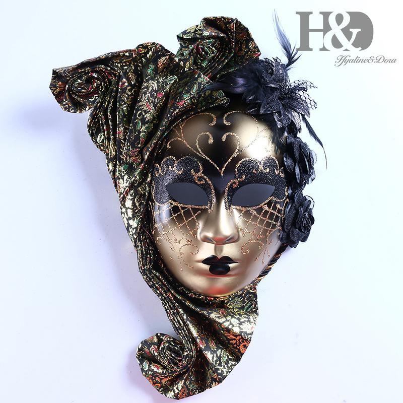 HD Full Face Венецианский Jester маска маскарада с Цветочной Масленицей Стена декоративного искусства Коллекция Y200103