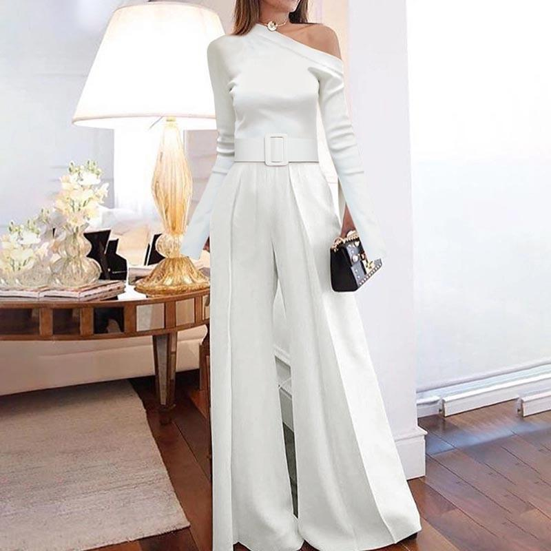 Jumpsuits women rompers Party Clubwear Playsuit elegant Jumpsuit Wide Leg One Shoulder Long Trousers Pants plus size