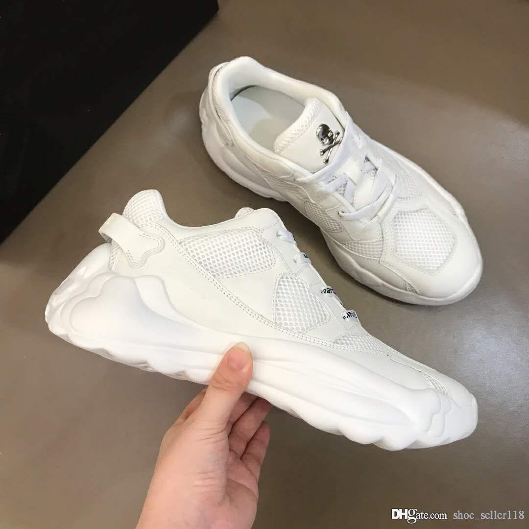 Homens oversize sola das sapatilhas Punk Estilo Runner calçados casuais decorado com um design de marca branca tênis com cadarço de qualidade superior do crânio do metal Iconic