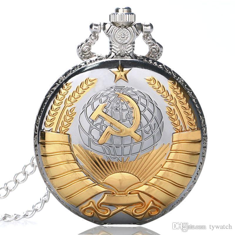 Vintage Gold Sowjetunion Kommunistischen Abzeichen Sichel Hammer Hacke Form Taschenuhr Umgeben Ohr für Männer Frauen Sammlung Souvenir