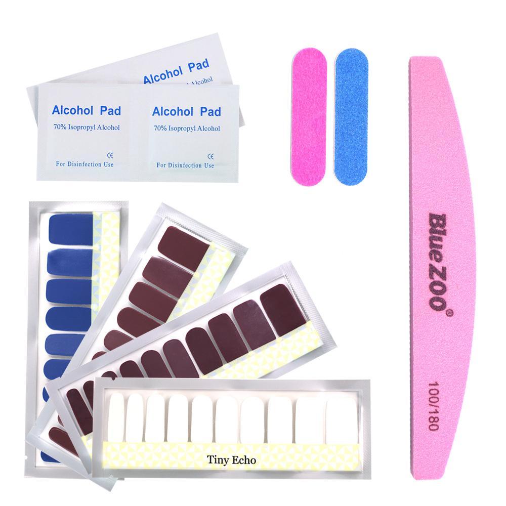 4 Pcs Diferentes Cor Pura Série Unha Polonês Adesivos Manicure DIY 4 Cores Unhas Polonês Tiras Wraps
