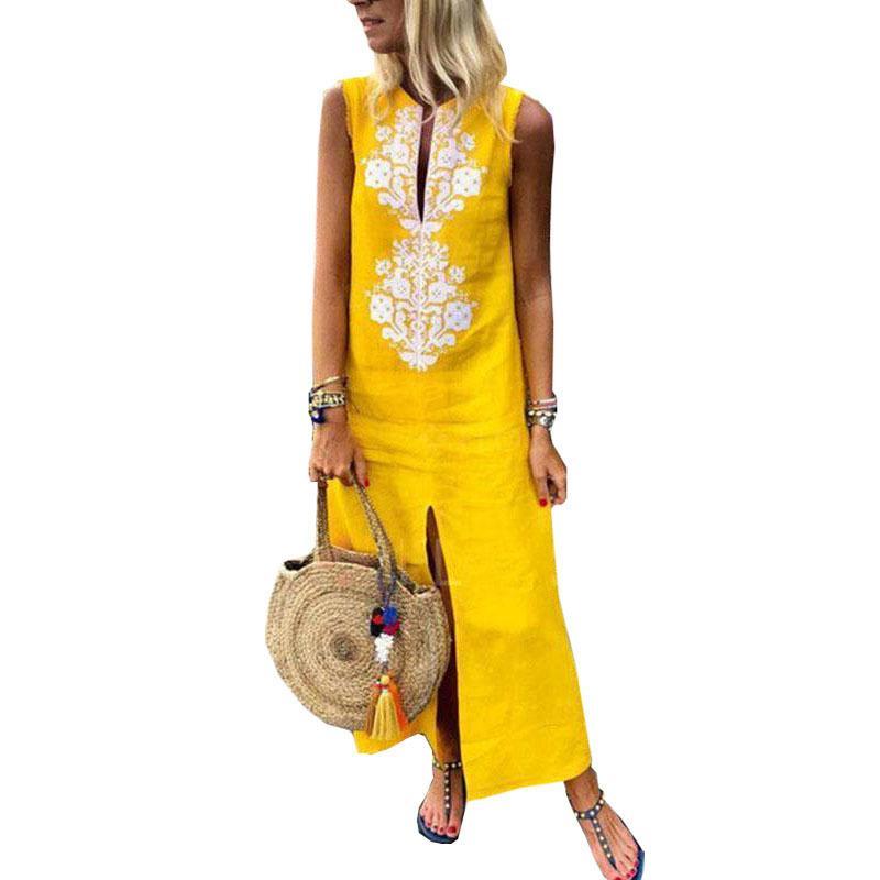 2018 Sonbahar Kadın Patchwork Elbise Vintage Rahat Losyon Maxi Uzun Elbiseler Standı Boyun Kolsuz Plaj Elbise Vestidos Artı Boyutu Y19071001