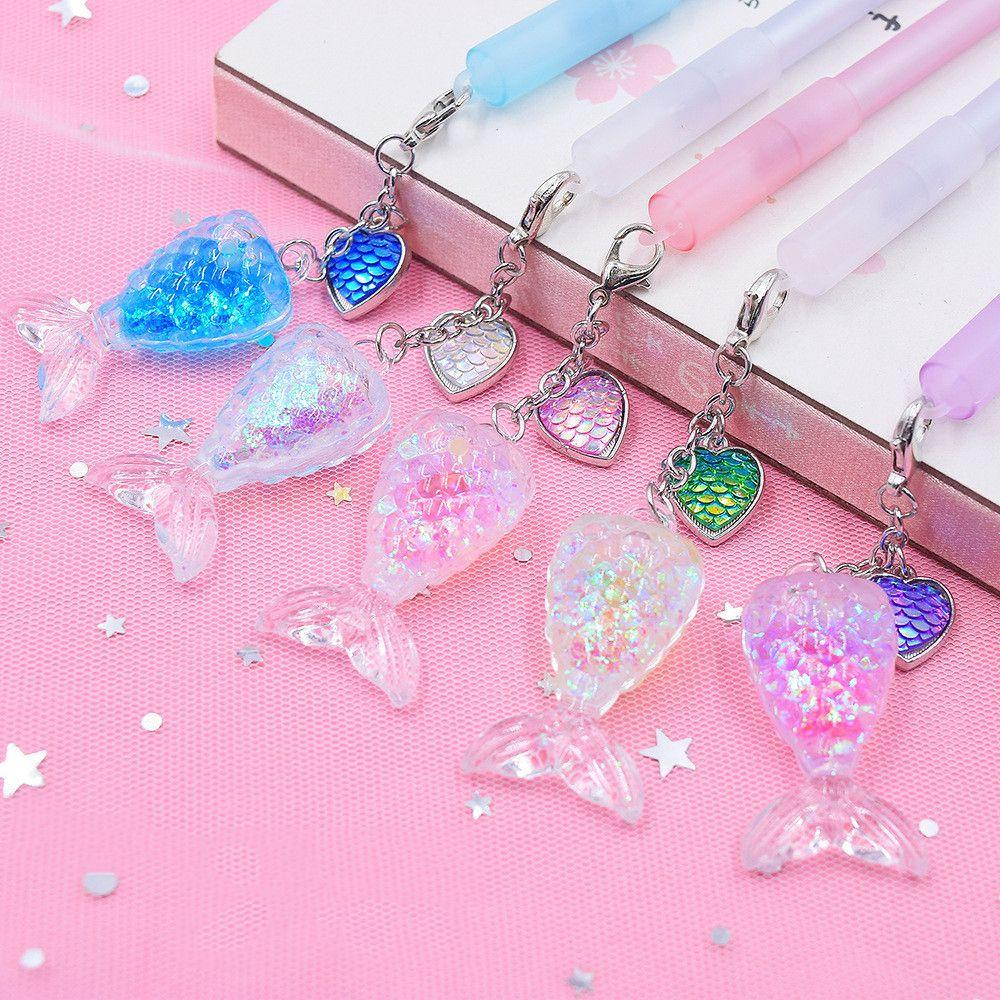 1pc Cute Crystal Mermaid Pendant Gel Pen Kawaii Stationery Signature Pens Kids Gifts 0.5mm Black Ink Needle Writing Instrument