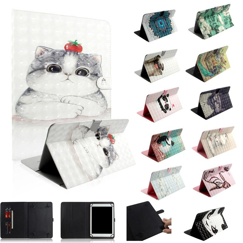 Universal For 7 8 10 inch Tablet Samsung Galaxy Tab iPad Tablet Cartoon Leather Wallet Case 3D parint Cat Panda Cards Slot Skin Cover