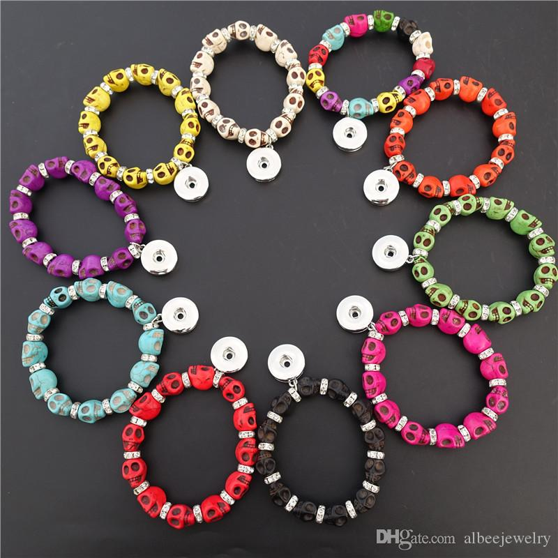 Mix Colors Fashion Natural Turquoise Stone Noosa Chunks 18mm Snap Buttons Skull Bracelet Jewelry Wholesale