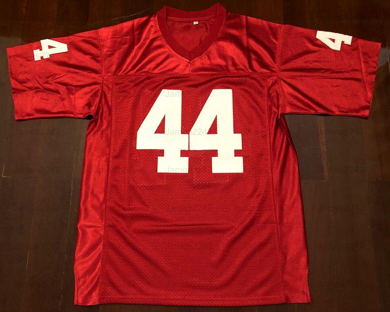 Retro Forrest Gump # 44 camiseta de fútbol Tom Hanks la película Hombres de cosido rojo S-3XL de alta calidad del envío