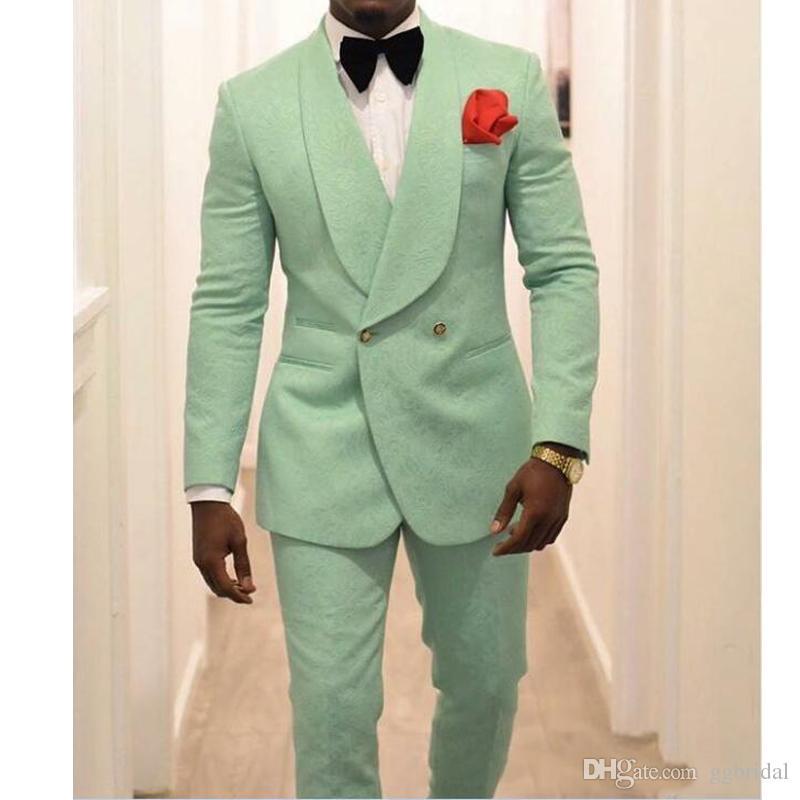 Personalizado verde dos homens 2 Pieces Ternos de casamento jacket + pants Slim Fit noivo Ternos Tuxedo Groomsmen Wedding Party smoking para Homem