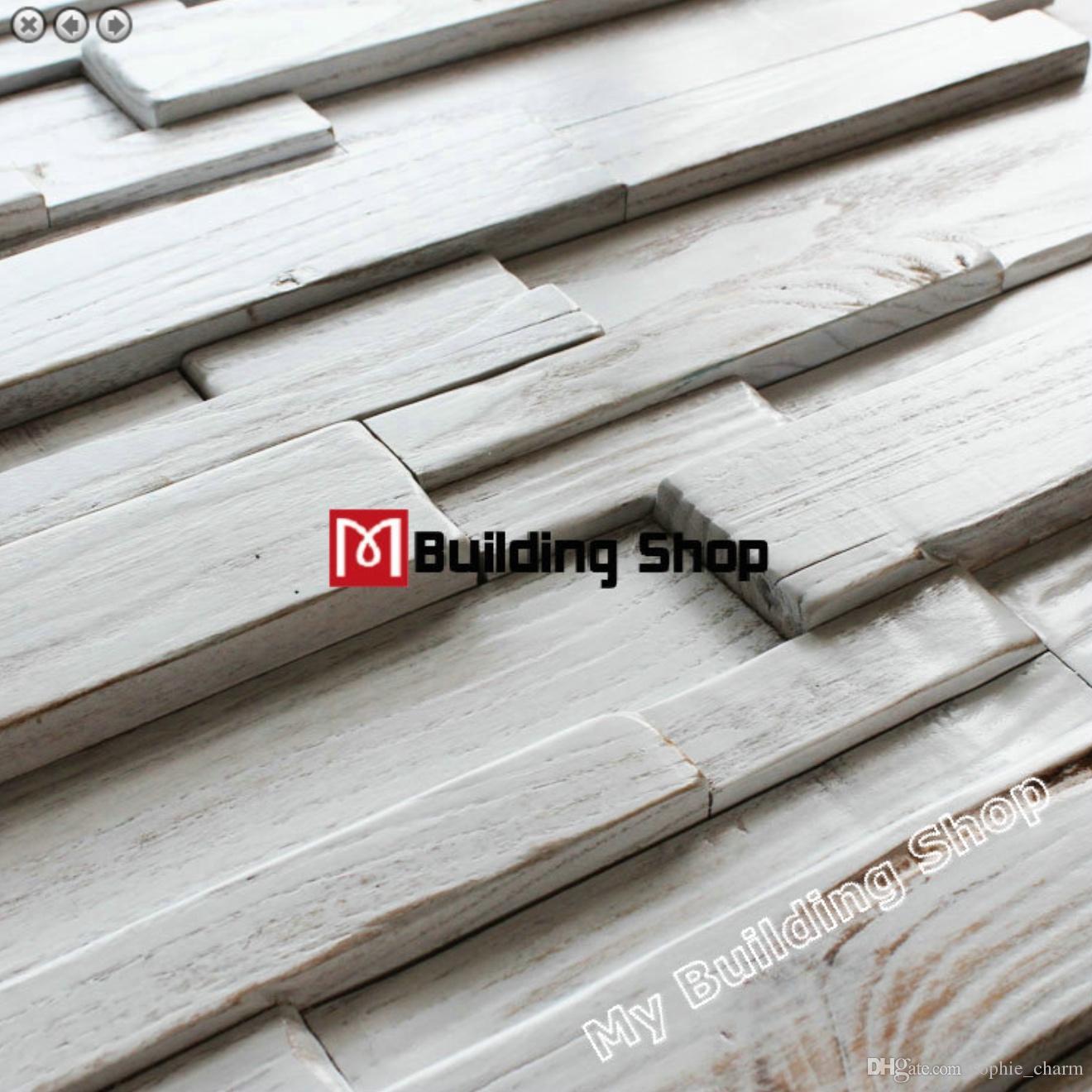 30x60 CM Branco mosaico de azulejos de madeira da parede 3D backsplash NWMT181 natural de madeira telhas de madeira rústica padrão de cozinha azulejos backsplash
