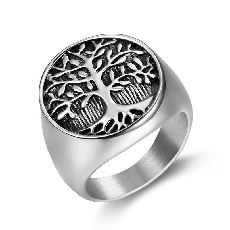 Stainless Steel Retro Silver Gold Religious Egypt Flower Of Life Ring Tree Of Life Egyptian La fleur de la vie Ring Jewelry For Men Women