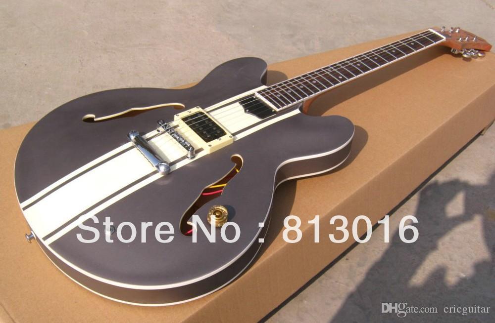 Новое прибытие Белый 333 пользовательские магазин джазовая гитара серый топ крем желтый strape на теле средних музыкальных инструментов Бесплатная доставка