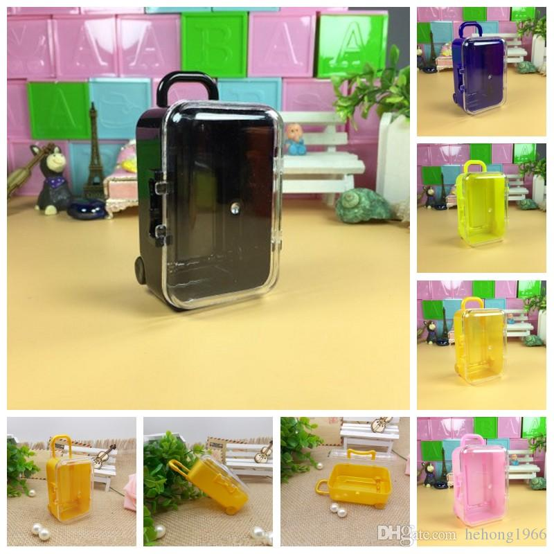 Mini Suitcase Candy Boxes Plastic Acrylic Rolling Travel Luggage Baby Shower Wedding Favors Box Child Gift Lovely 0 88lq H1