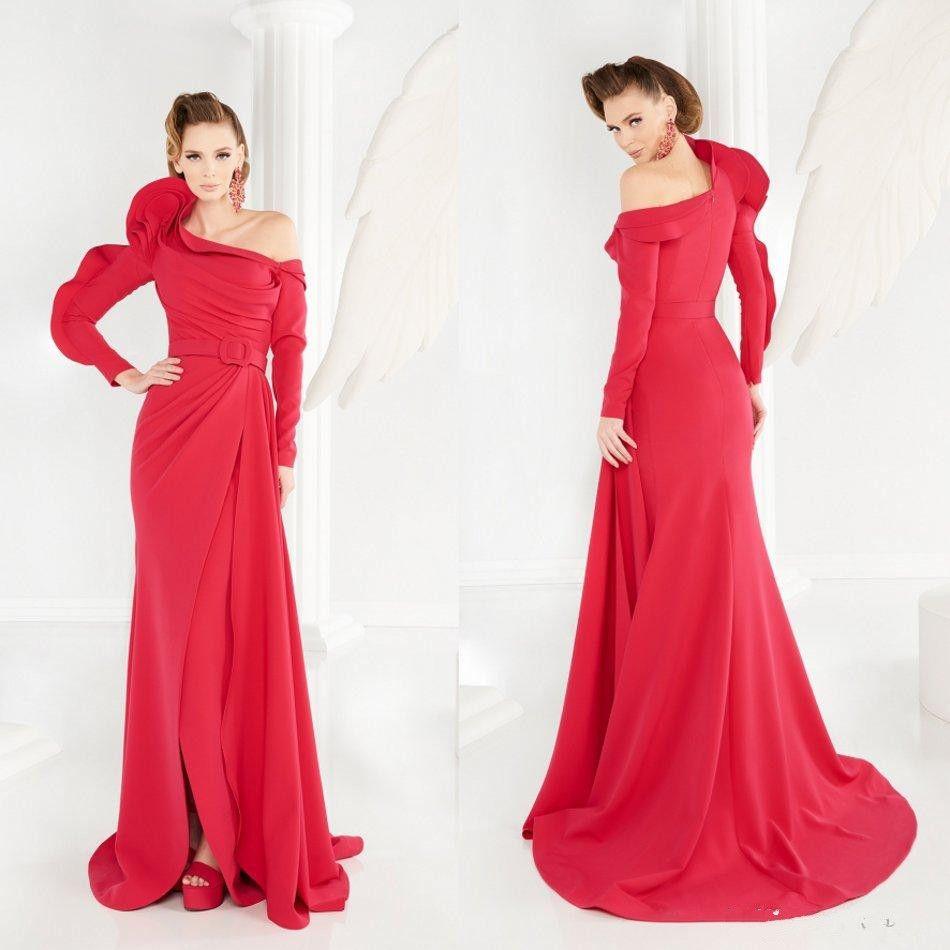 Sexy Side Split robes de soirée sirène Art déco-inspiré cou manches longues robes de soirée balayent train robe de soirée arabe