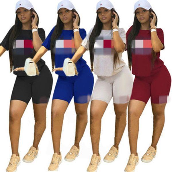 Carta atractiva de las mujeres impresos chándales Moda de verano de manga corta pantalones cortos pantalones de dos piezas Sport Set Plus Size Sweat Clothing S-2XL
