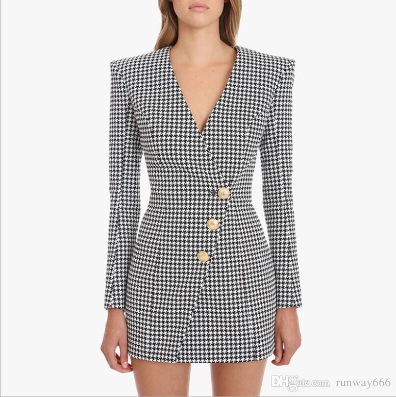 Kadınlar Elbise Tasarımcı 2020 Yeni Moda vestidos Toptan Garp Ekose Lüks Mini Elbise Ücretsiz Nakliye Sıcak Satılık Geldi