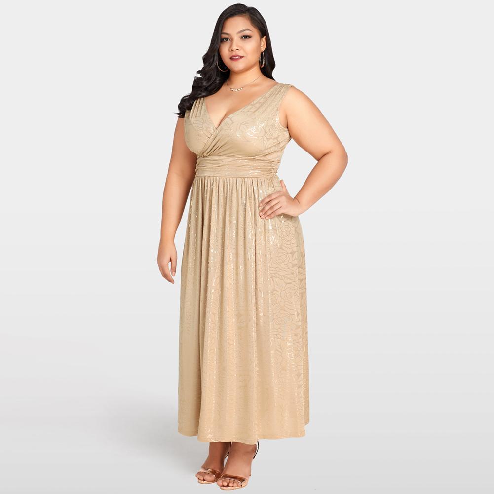 b0d82145c2 Sexy Women 3XL 4XL 5XL Plus Size Dress Gold Floral Print Maxi Dress Deep V  Neck Banded Waist Evening Party Club Long Dress Khaki