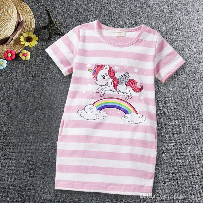 Girl Dress Unicorn Striped Baby Child Party Cartoon Dresses Birthday Animal Strip Princess Dress for Girls Children Outfit