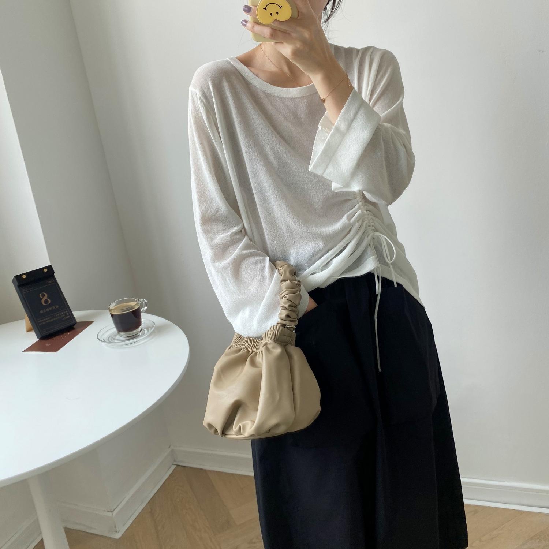 Xixi 2020ins cor pura Ice Silk preguiçoso cordão de malha pullover Cedar pullover filtro solar abeto YL8906 feminina fina