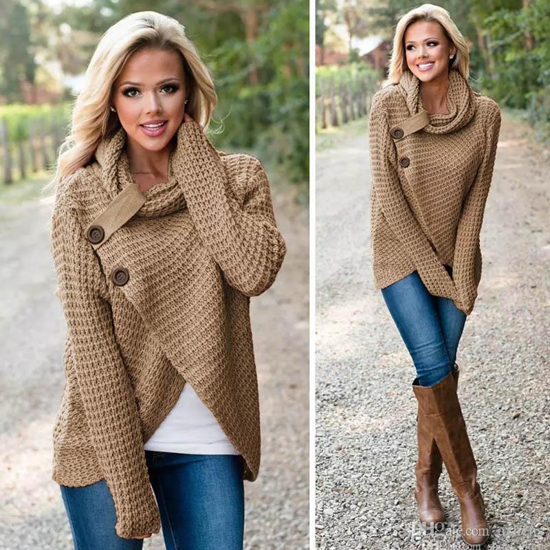 2018 가을 겨울 여성 풀오버 스웨터 긴 소매 터틀넥 Fahion 캐쥬얼 버튼 카디건 탑스 비대칭 스웨터