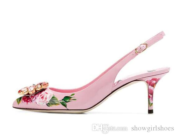 New Style Slingbacks Woman Shoes Pointy Toe Decor Colorful Rhinestone Thin Sapatos Feminino Elegant Print Flower Pumps Women