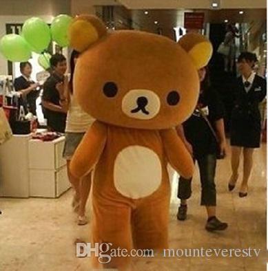 2018 venta de la fábrica caliente Janpan Rilakkuma oso trajes de la mascota del tamaño adulto del oso de dibujos animados traje de alta calidad fiesta de Halloween envío gratis