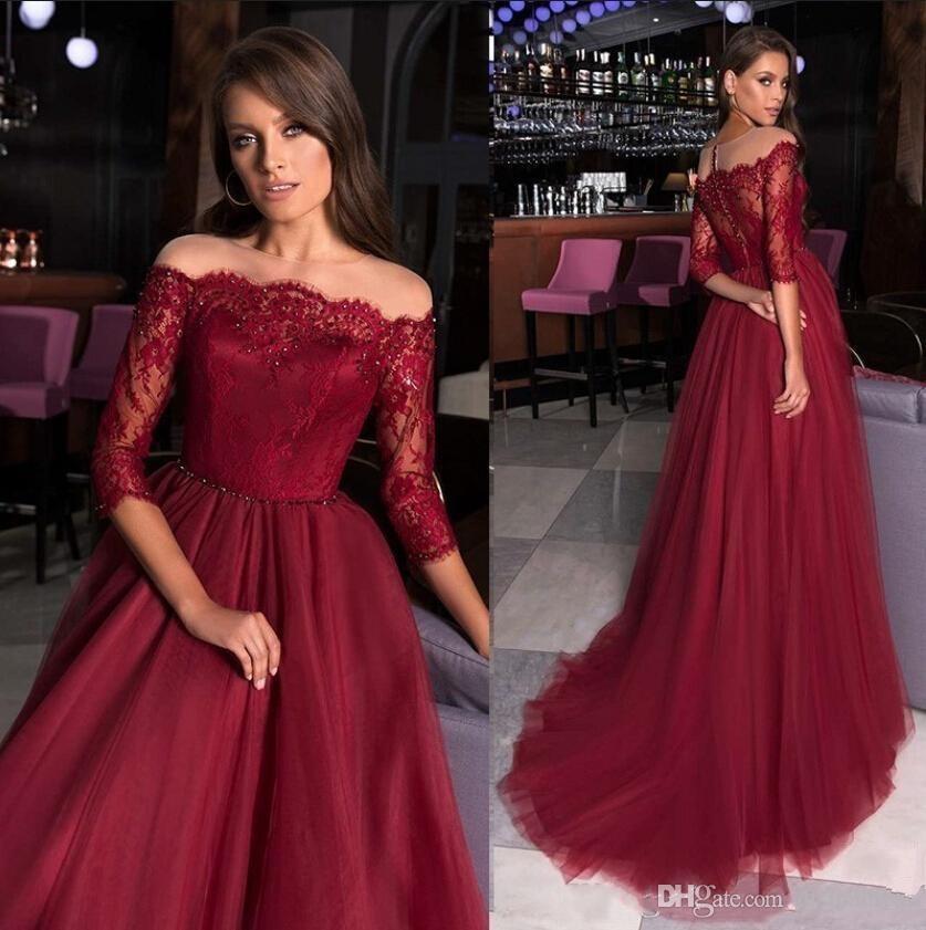 Modest A-line Burgundy Evening Dress Lace Appliques Beaded Sheer Neckline Long Sleeves Formal Prom Dress 2019 Robe De Soiree