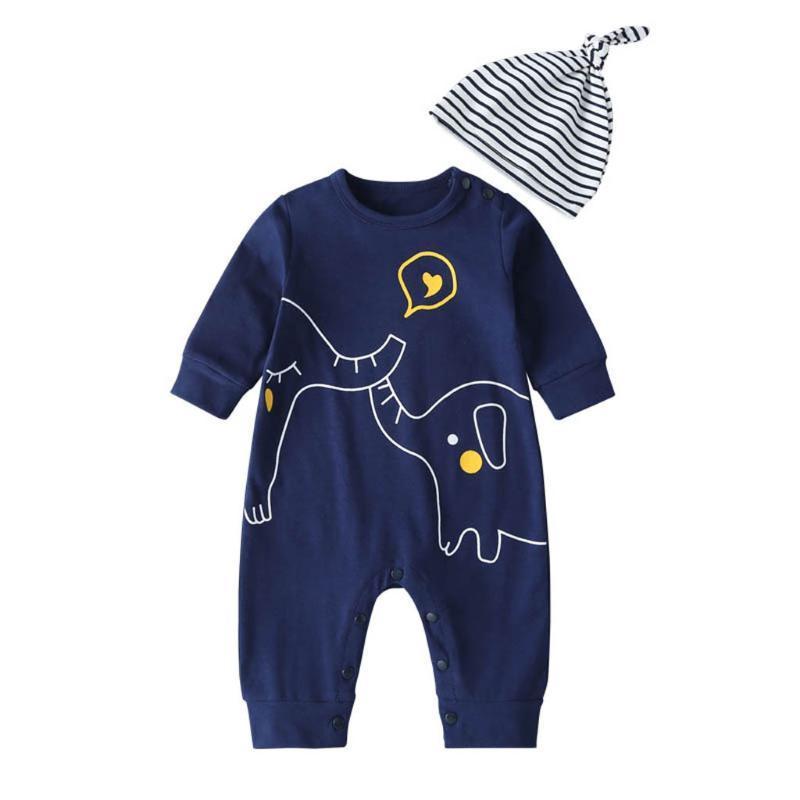 Bebek Tulum giysileri Karikatür Uzun kollu yeni doğan bebek giysileri o-boyun unisex+şapka Tulum Yenidoğan Bebek Giyim için