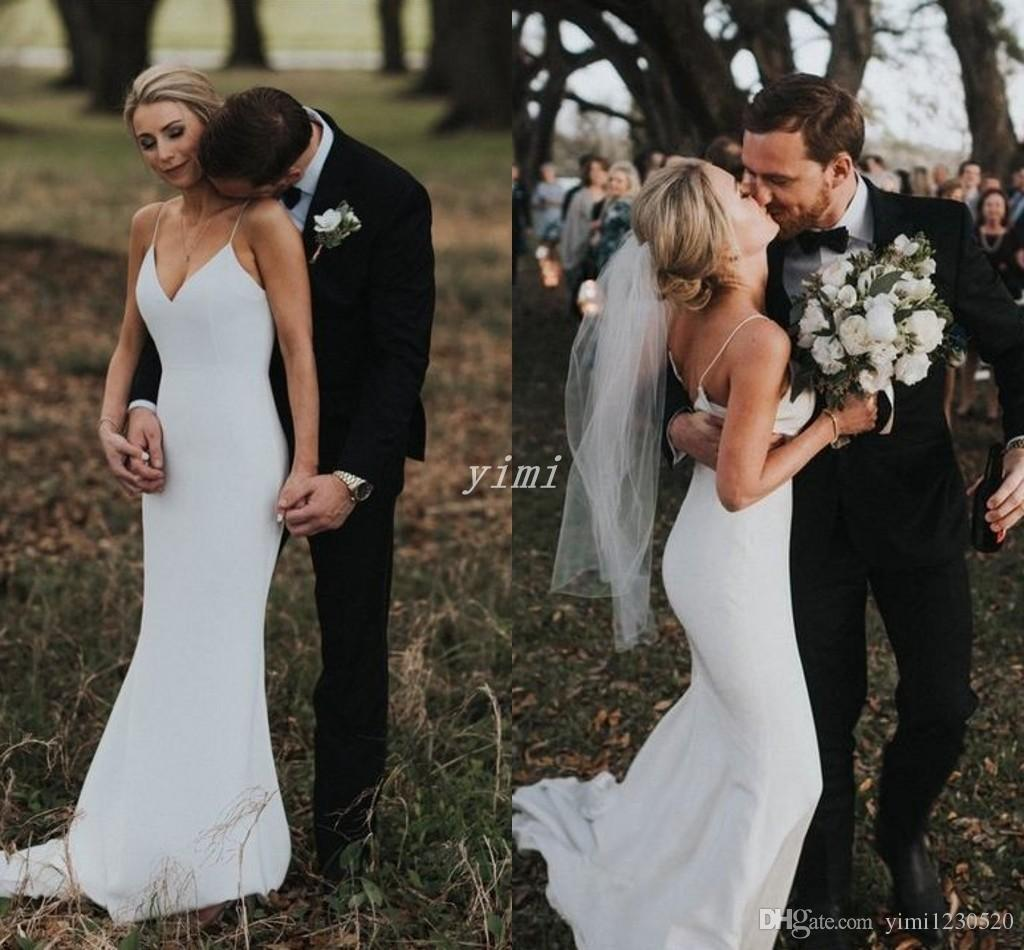 Sexy Back Mermaid Wedding Dresses 2019 Spaghetti Sweep Train Garden Country Beach Bridal Gowns Plus Size vestidos de novia Cheap