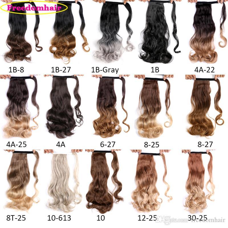 La extensión del pelo de 17 pulgadas de largo Cola de caballo Cola de caballo onda del cuerpo 110g / pc sintético Cola de caballo de pelo con colores Negro Rubio Brown para las mujeres