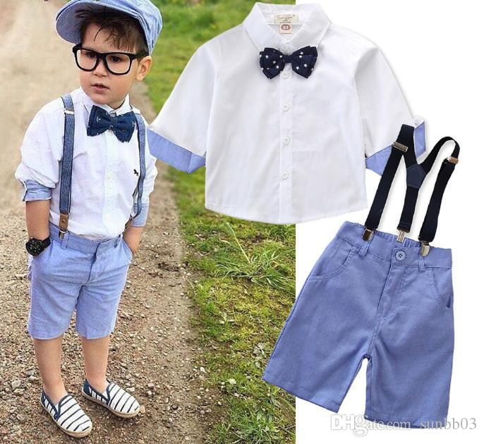 2Pcs Kids Baby Boys Bow-tie T-Shirt Tops Suspender Jeans Shorts Outfits /& Sets