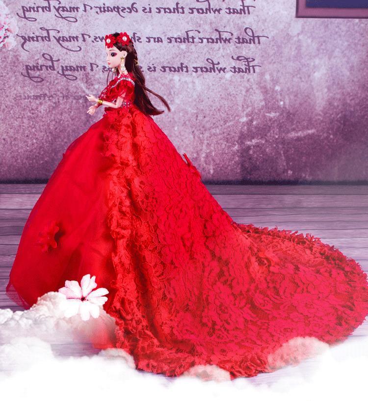 3D دمية الزفاف فستان الدانتيل الأميرة البدلة المخلفات العروس فتاة لعب دمية الدعم الذاتي