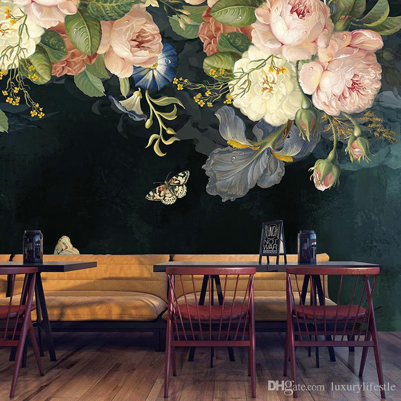 Wallpaper Dropship Personalizado 3D seda pano impermeável Canvas Murais Pintura Pastoral Floral Oil Flor pintura preta Wallpaper Mural