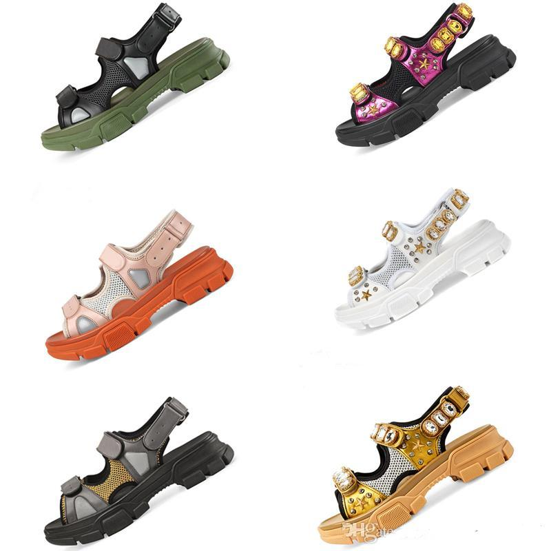 Trendy riveted Sports sandals Real Leather Diamond Sandals Sporty Leisure Womens Beach Shoes size 35 to 44 tradingbear