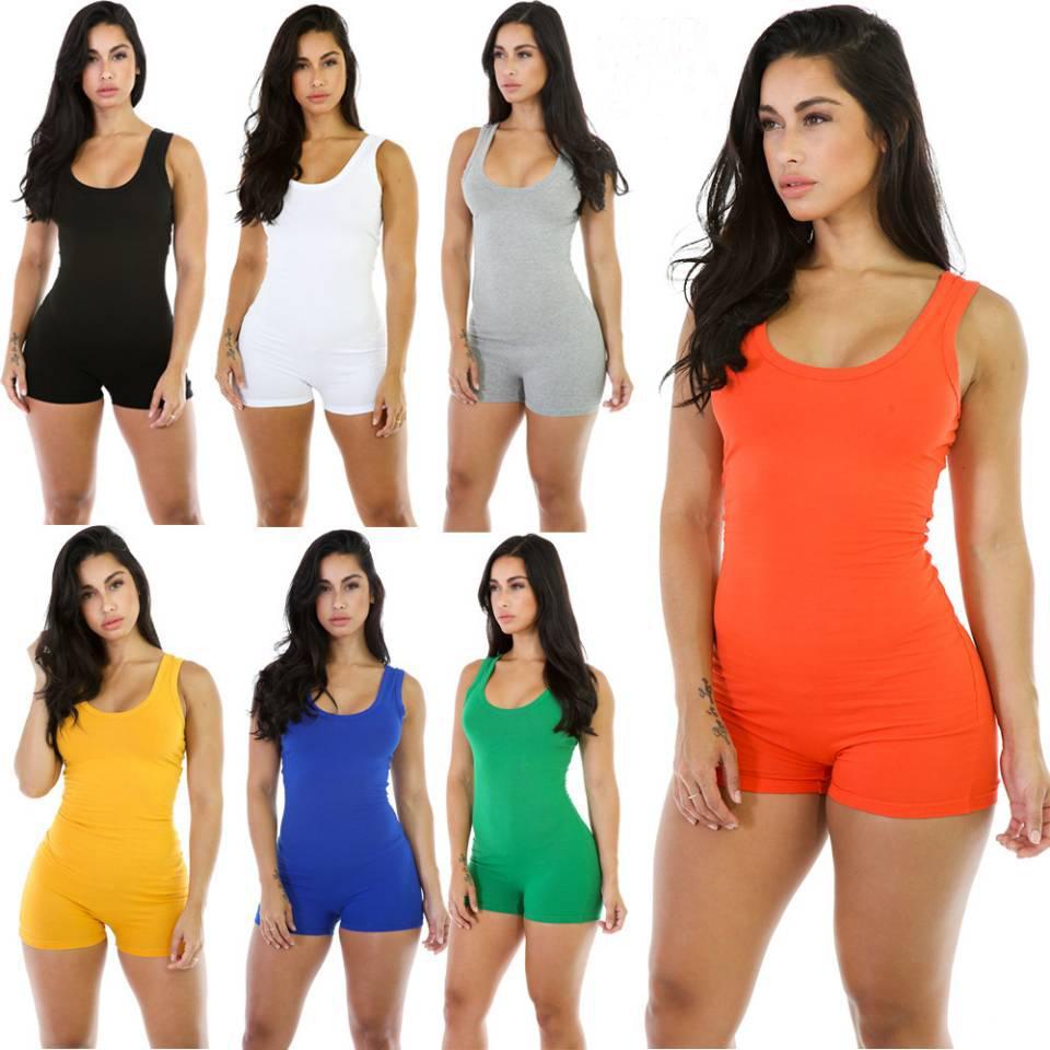 새로운 여성 여름 Bodycon Bodysuit Rompers 섹시한 여성 솔리드 컬러 홀터 덤프 수트 반바지 민소매 원피스 복장 Playsuit Villows S-XL